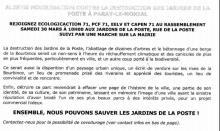 Destruction du Jardin de la Poste à Paray-le-Monial