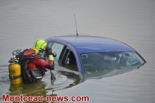 Faits divers : voiture dans le lac du Plessis à Montceau