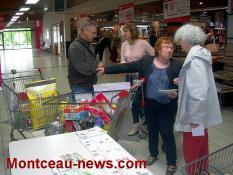 Le caddie exemplaire, la démonstration à l'Intermarché à Saint-Vallier