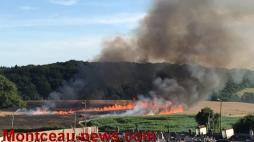 Une vidéo du feu de champ  à Saint-Vallier, cette fois...