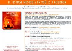 Concert du Quatuor Manfred dans le cadre du Festival Musiques en Voûtes à Gourdon (Sortir)