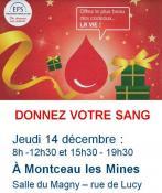 Don du sang à Montceau : collecte ce jeudi 14 décembre 2017