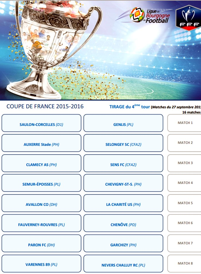 4 me tour de la coupe de france 2016 montceau news l - Tirage au sort coupe de france 2014 2015 ...