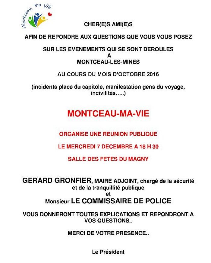 Réuion publique de Montceau Ma Vie (Montceau-les-Mines)