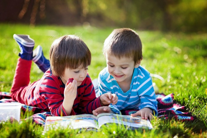 Two adorable cute caucasian boys, lying in the park in a fine sunny afternoon, reading a book and eating strawberries, educating themselves and having fun