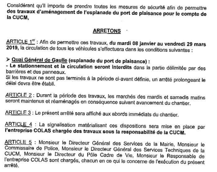 arrete maire Montceau port plaisance 110119