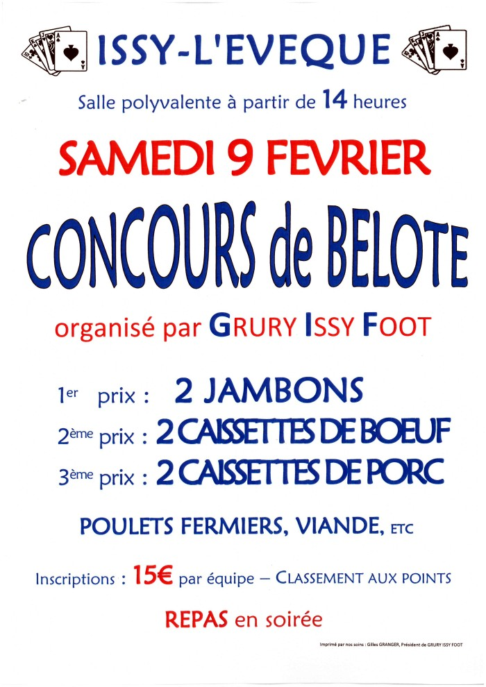 Affiche concours belote Grury Issy Foot 030219
