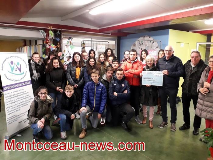 College Saint Gilbert Montceau, amis Olivier autisme cheque 060219
