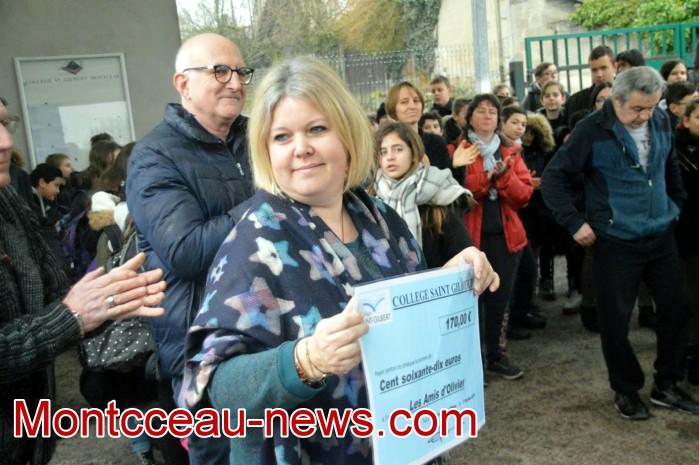 College Saint Gilbert Montceau, amis Olivier autisme cheque 0602191