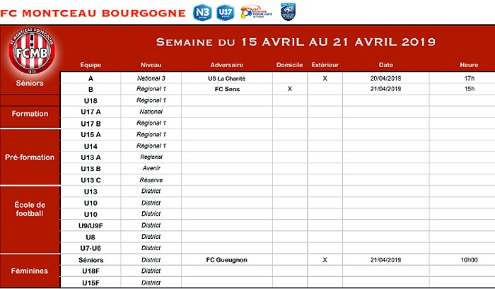 Planning FCMB foot football soccers match championnat national3 Montceau-news.com 160419