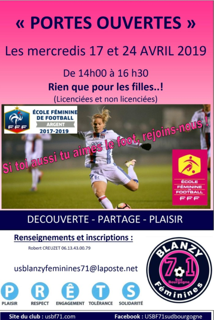 USBlanzy foot portes ouvertes soccers girl young affiche vacances holidays Montceau-news.com 160419