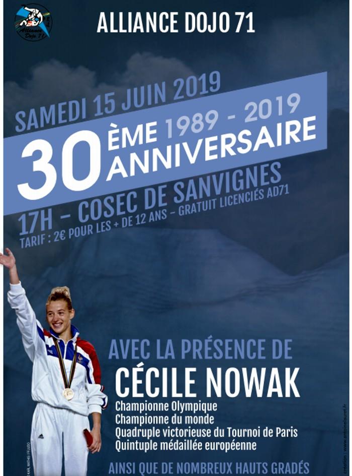 Alliance dojo71 judo Cecile Nowak championne Europe vedette star guset-star invite honneur palmares anniversaire birthday tract affiche sport combat Montceau-news.com 100519