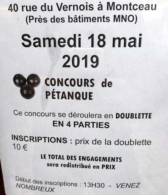 Concours petanque boules Montceau Vezrnois quarrtier tract affiche annonce Montceau-news.com 080519