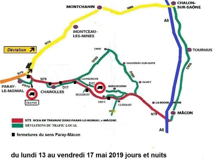 carte travaux chantier RCEA RN79 cirdulation deviation perturbation cars trucks voitures camions Montceau-news.com 090519