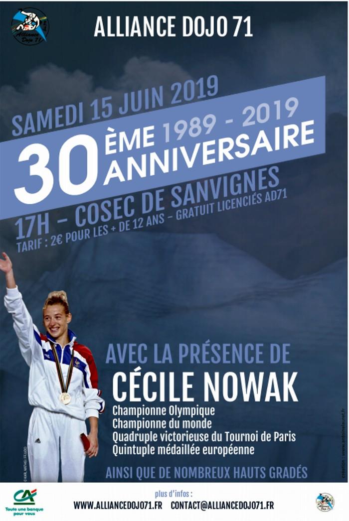 Alliance dojo 71 30anniversaire birthday Cecile Novak championne monde olympique Sanvignes, mines annonce site web Montceau-news.com 130619