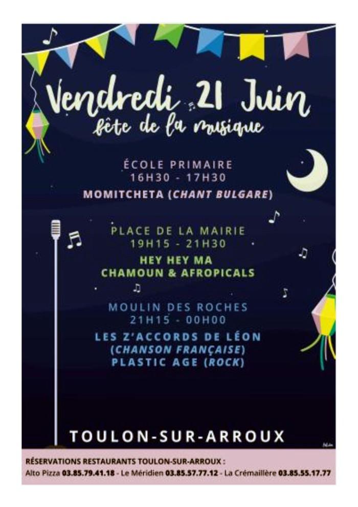 Fete musique music 21juin 2019 flyer affiche Toulon Arroux sirtir lisirs annece site web Montceau-news.com 120619