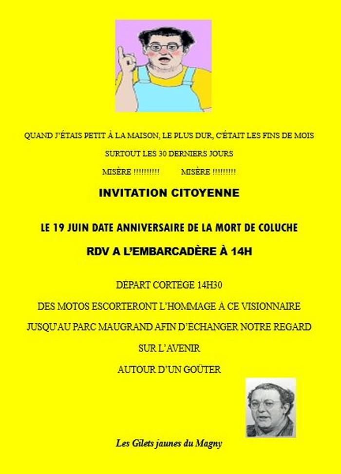 Flyer affiche action GJ gilets jaunes Magny Coluche anniversaire birthday mort humour social annonce site web Montceau-news.com 140619