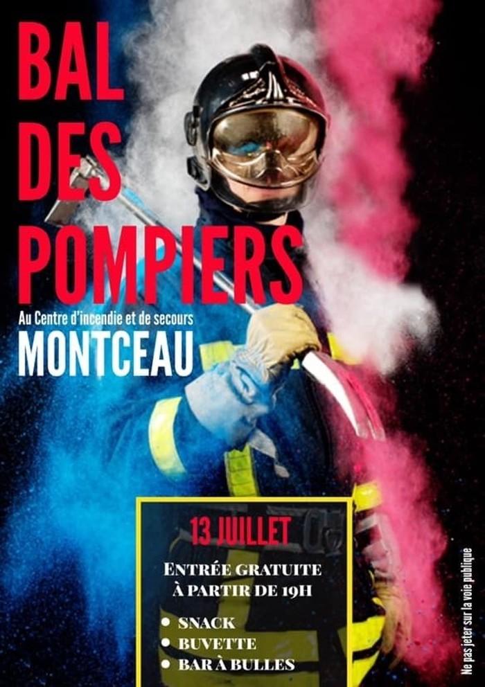 Flyer affiche bal pompiers Montceau 13juillet 2019 sortir loisirs danse dance musqieu music seoir nuit night fete nationale revolution francaise annonce site web Montceau-news.com 110619