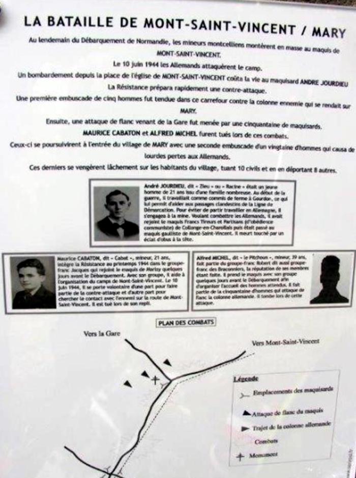 Monument bataille guere Mary Mont Saint Vincent maquis gestapo nazu SS Hitler war 1944 heros morts France liberation souvenir Montceau-news.com 100619